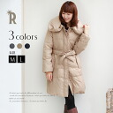 «Early discount» Buyer's select volume collar down coat with a Ribbon belt (86-6765)