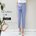 Select buyer's Made in Japan gingham check Center press cropped pants (Q-0560)