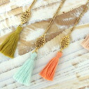 Watermark non-motif & tassel Necklace (R-069) ★ shipping * return exchange