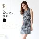 Dolly-Sean Made in Japan adult monotone print ☆ ブロックチェックストレッチノースリーブワン piece (M-8751) ★ * sales per non-returning replaced.