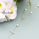 Flower & heart Cross Necklace (R-023) ★ ships