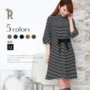≪Ribbon dress ☆ high neck-like horizontal stripe ribbon one piece (Z53815) of the early percent ≫ popularity