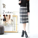 nou-e trend pencil skirt ☆ check knit tight skirt (25-48,182)