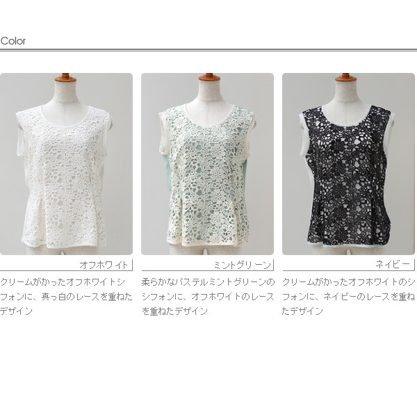 Buyer's select Made in Japan シフォン×レースのフェミニンブラウス(412534)