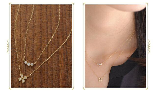 ネックレスの重ね付け画像
