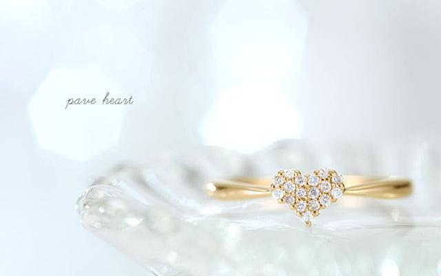 K18 diamond ring K18 ダイヤモンド リング pave heart