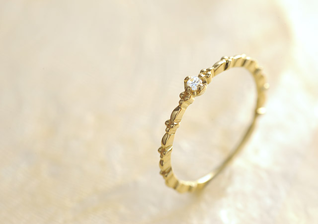 K18 ダイヤモンド  ピンキーリング whisper