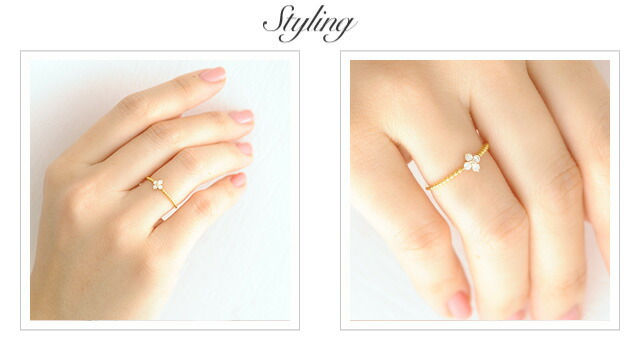 K18 diamond ring angel little flower