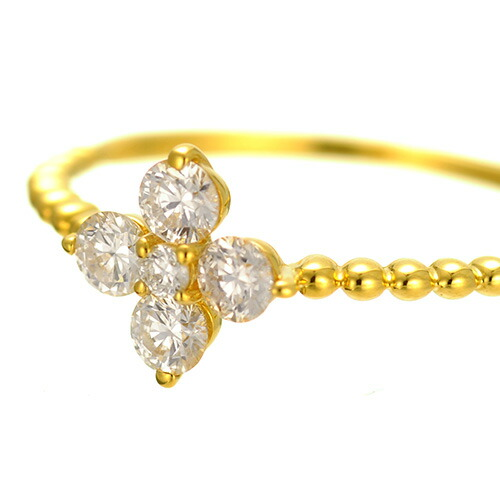 K18 diamond ring angel flower