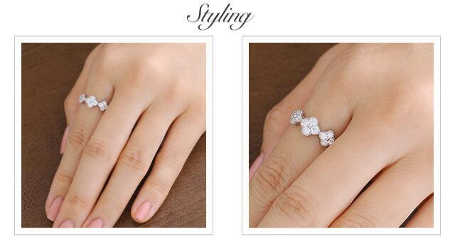 K18 diamond ring field of flowers
