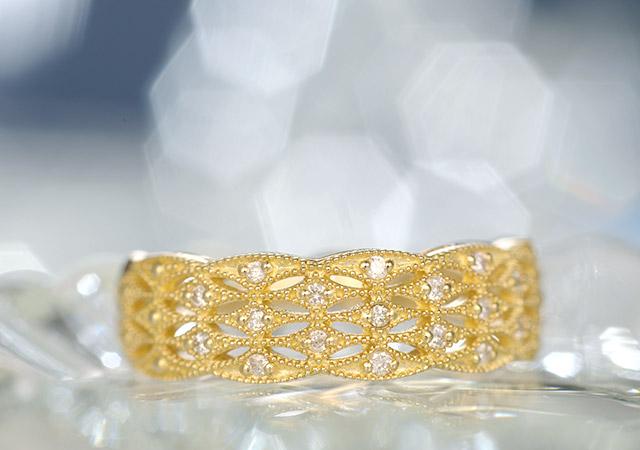 K18 diamond ring molding lace