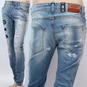 REIGN ITALIA lane Italy WUDY A26786117ZC9867 wash blue crush cutting jeans repair men:
