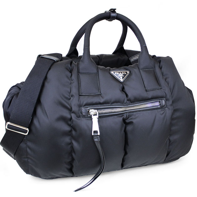 prada black tessuto nylon bomber shopping travel tote bag