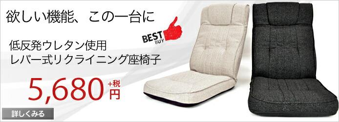 座椅子 低反発 低反発座椅子 ハイバック 座いす リクライニングチェアー ヘッド リクライニング レバー 6段階リクライニング 低反発座椅子プラド