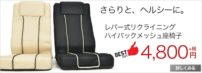座椅子 メッシュで快適 ハイバック仕様レバー式メッシュ座椅子 ロイド