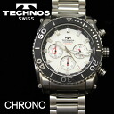 Clock / technos men's watch quartz all stainless steel chronograph white characters Edition T2-S [size adjustment free: fs3gm