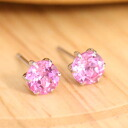 Synthetic pink Saffire 6 mm round earrings