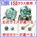 Good quality SI クラスブルー diamond earring 0.10 ct diamond