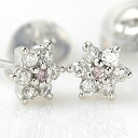 K18WG pink diamond earrings 0.02 ct 0.12 ct