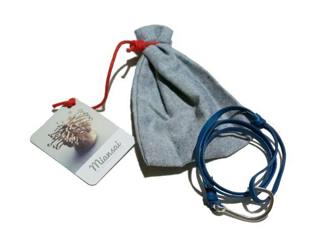 Miansai Silver Hook Leather Bracelet Miansai Silver Hook on Blue