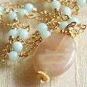 Amazonite, orange moonstone, necklace of K14gf