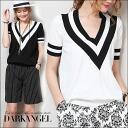 To add a casual ♪ childensummernit-tops / women's casual tops short sleeve short sleeve V neck Tilden knit evisu DarkAngel / Dark Angel