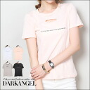 Friends ♪ damage with logo T shirt / ladies damage T shirt short sleeve Short Sleeve Tops sewn DarkAngel / Dark Angel