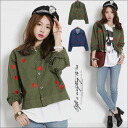 A love Lee degree perfect score! It is full of heart! Shirt ■'s house nothing with the jacket short-short length collar in spring short heart whole pattern jacket / Lady's jacket outer heart whole pattern pattern outer■