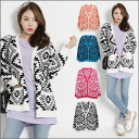 I acquire a difference in the ethnic pattern that is POP! Whole pattern ethnic pattern cardigan / Lady's cardigan ethnic whole pattern racial pop showy pattern spring black native ■'s house nothing in the spring and summer■