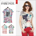 I make fashion of the pride with one piece! POP whole pattern short sleeves T-shirt / Lady's T-shirt short sleeves character logo whole pattern cut-and-sew tops DarkAngel/ dark angel
