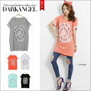 I acquire a difference with sweet casual clothes! Race X logo short sleeves T-shirt / Lady's T-shirt short sleeves race logo tunic cut-and-sew relaxedly DarkAngel/ dark angel in the spring and summer