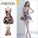 A sexy specifications design of the fascination! Flower pattern flare one piece / Lady's one piece camisole flare one piece mini-length floral design flower pattern DarkAngel/ dark angel