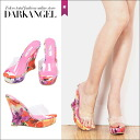 At the ornate cool feet! Chraflower pattern wedge-shrsandal / Womens Sandals wedge sole sandal flower pattern floral DarkAngel / Dark Angel