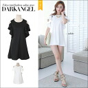 Is young girl feeling ♪ shoulder in a sweet silhouette slightly, and is frill one piece / Lady's one piece shoulder; and frill mini length plain fabric Shin pull frill short sleeves DarkAngel/ dark angel