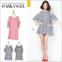 Is ♪ shoulder to a seasonal silhouette with basic horizontal stripes, and is horizontal stripe one piece / Lady's one piece shoulder; and horizontal stripes mini length short sleeves DarkAngel/ dark angel