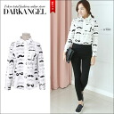 The mustache design which is a popular mode! Mustache whole pattern blouse mode pattern DarkAngel/ dark angel with the mustache elaborately designed shirt / Lady's long sleeves shirt collar with the collar
