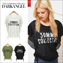 It is Push for a sense of the seasons in a season logo! Logo dolman T-shirt / Lady's T-shirt short sleeves logo dolman relaxedly sloppy DarkAngel/ dark angel