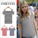Is the ♪ shoulder which skin charms you, and is made healthy, and is horizontal stripe tops / Lady's shoulder, and show horizontal stripes tops short sleeves cut-and-sew skin; DarkAngel/ dark angel