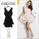 Feeling of young girl perfect love Lee design ♪ volume flare one piece / Lady's one piece flare one piece mini-length no sleeve frill party chiffon DarkAngel/ dark angel