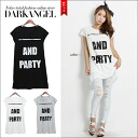 Though is simple, is logo ♪ left in the impression, or lose it; is DarkAngel/ dark angel letter logo tunic / Lady's short sleeves T-shirt tunic one piece logo relaxedly