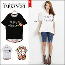 ♪ flower X logo design T-shirt / Lady's T-shirt flower pattern floral design relaxedly sloppy logo short sleeves DarkAngel/ dark angel to be able to enjoy the design of 2 patterns