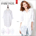 Refreshing LOOK is sleeve three-quarter sleeves DarkAngel/ dark angel for long sleeves 7 completion ♪ block check shirt / lady's shirt tops cut-and-sew blouse block check relaxedly