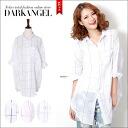 Refreshing completes the LOOK! block check shirts / women's shirts tops sewn blouse block check loose long sleeve 7-three-quarter sleeves sleeves DarkAngel / Dark Angel
