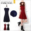 I can enjoy wide fashion! Plain sleeveless one piece / Lady's one piece mini-length flare one piece no sleeve neck that is plain DarkAngel/ dark angel