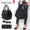 A higher-grade elaborate design! Mesh knitting 2WAY bag / Lady's bag mesh knitting handbag shoulder leather black casual DarkAngel/ dark angel