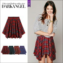 ♪ waist rubber check flared skirt / Lady's flared skirt checked pattern reed men Tolly mini-length waist rubber DarkAngel/ dark angel proud of pretty checked pattern in the fall and winter