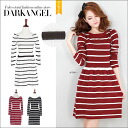 Shin pull DarkAngel/ dark angel in the fall and winter casual the casual design ♪ horizontal stripe one piece / Lady's one piece horizontal stripe long sleeves mini-length which a lady can wear