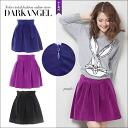 A pretty hairline! touchleaminiscat / women's flare miniskirt tack mini-length pleated flare skirt plain simple winter DarkAngel / Dark Angel
