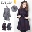 Wear classic ♪ chart check pattern collared dress / ladies chart check one piece mini-length check pattern collared shirt blouse autumn/winter ab06221 adult classy long sleeved DarkAngel / Dark Angel