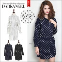 A lovely sense of casual ♪ dot collared shatswanpeace / women's dress shirt dot polka dot casual mini-length blouse DarkAngel / Dark Angel